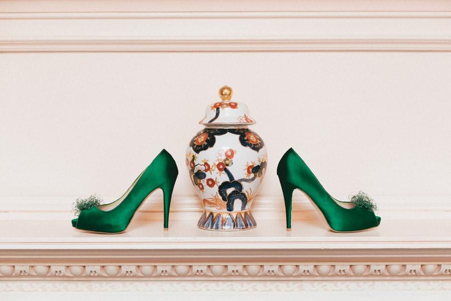 Katie's green wedding shoes