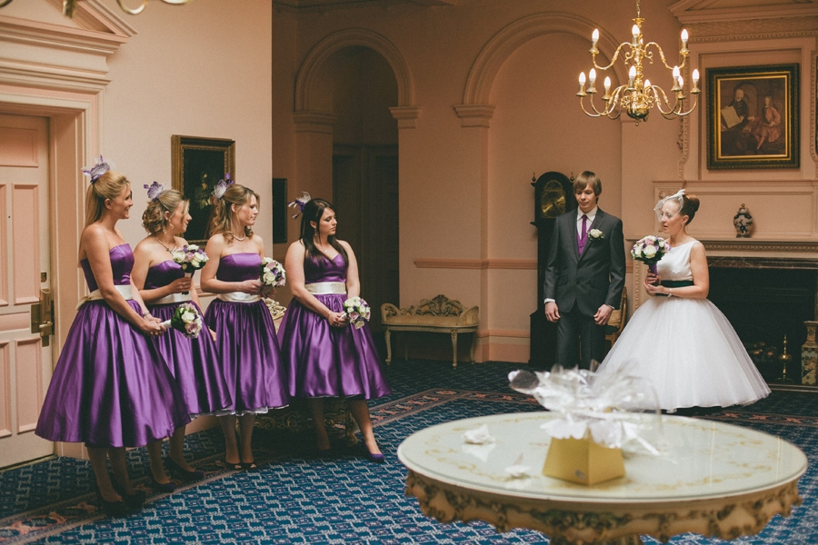 Bride & bridesmaids at down hall, hertfordshire