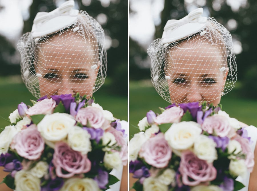 Bride with flowers at Down Hall, Hertfordshire