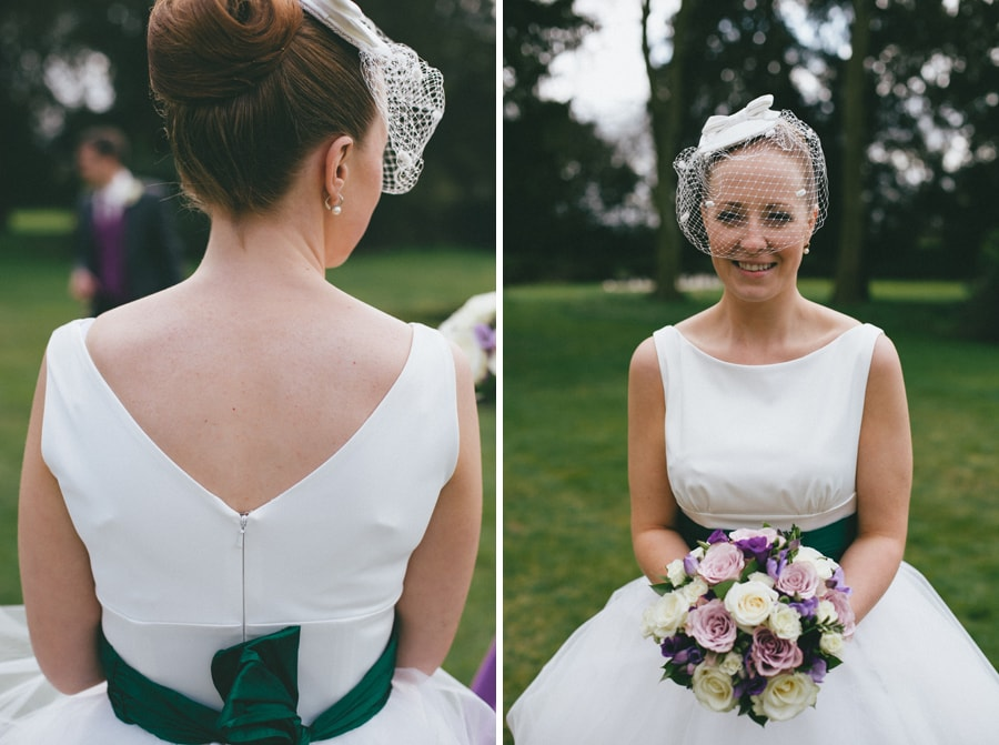 Bride with bouquet at Down Hall, Hertfordshire