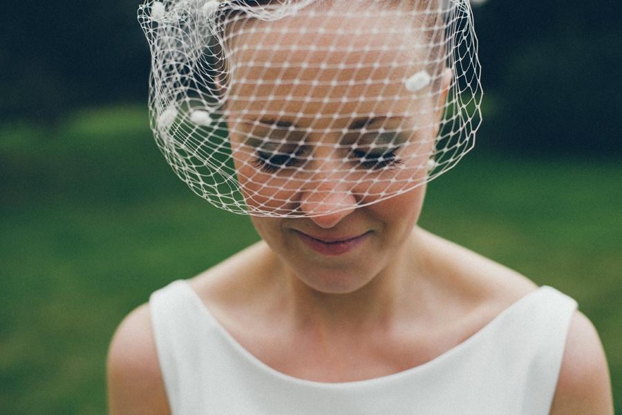 Brides head shot at Down Hall, Hertfordshire