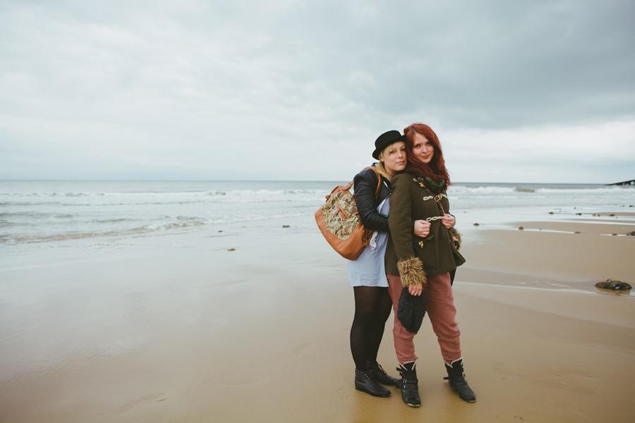 Alexandra Cameron & Jenny Hall on the beach in Norfolk