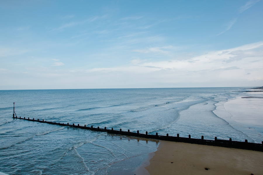 Norfolk beaches with blue sky