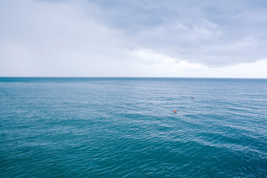 The water is blue