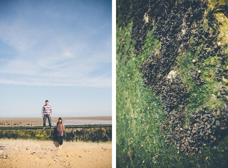 matt and tonia on the beach in essex