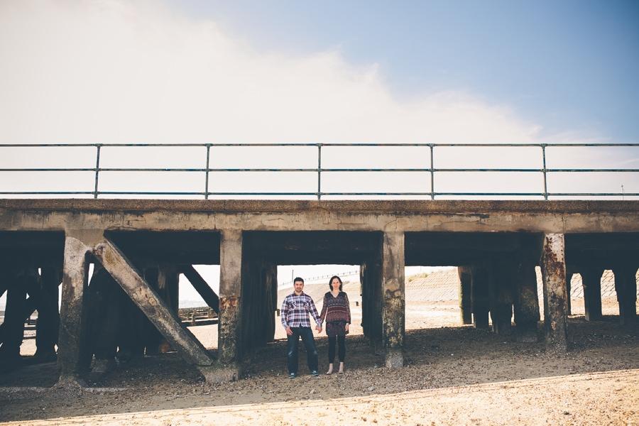 tonia and matt under a bridge in southend, essex