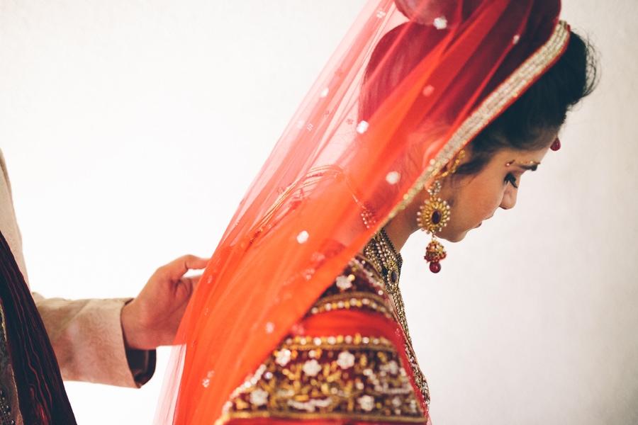 side shot of the bride at Copthorne Hotel