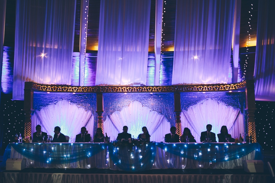 the bride and grooms head table