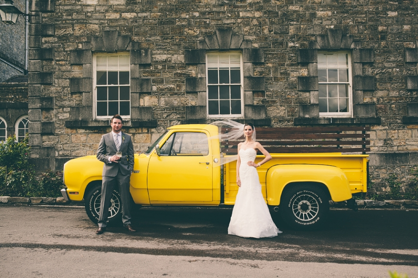 wedding portrait in front of american truck