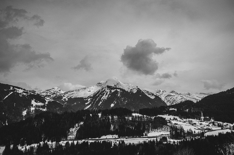 b&w photo of the french alps