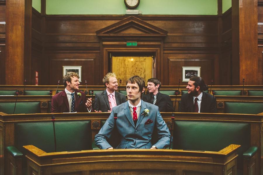 groomsmen inside camden town hall