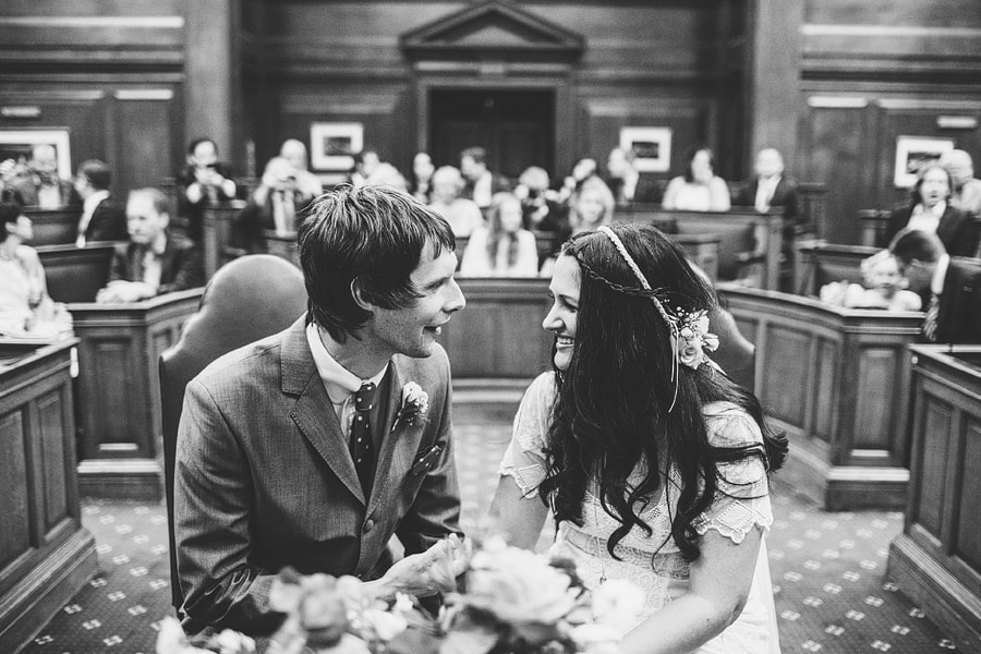 groom and bride inside camden town hall