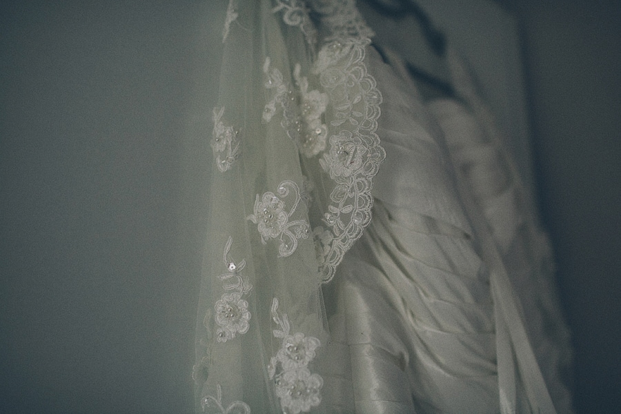 close up of the brides dress