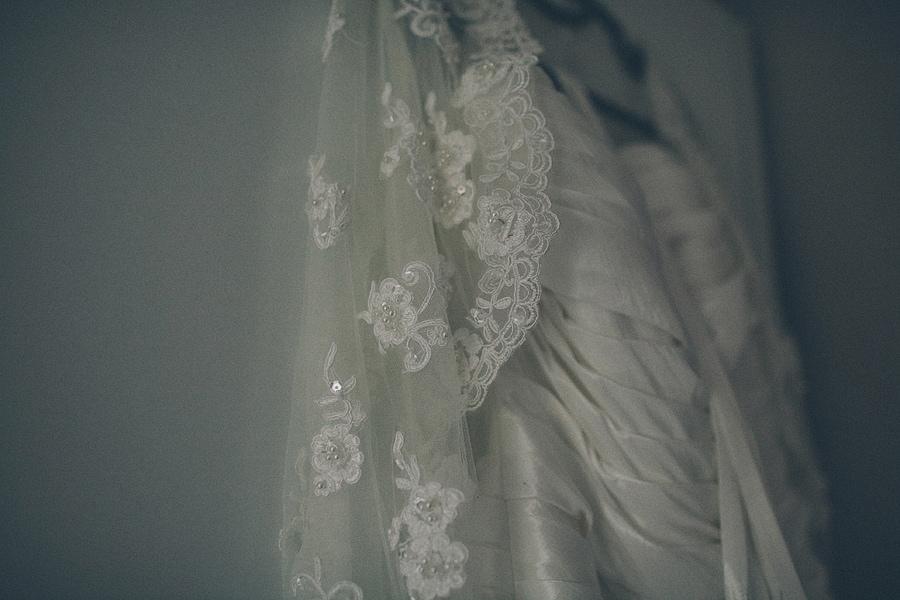 close up of the brides dress