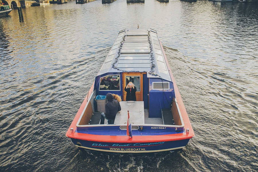 boat bus in the canal in amsterdam