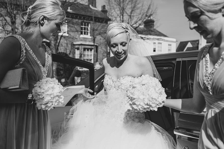 bride arrives at the church in bishops stortford