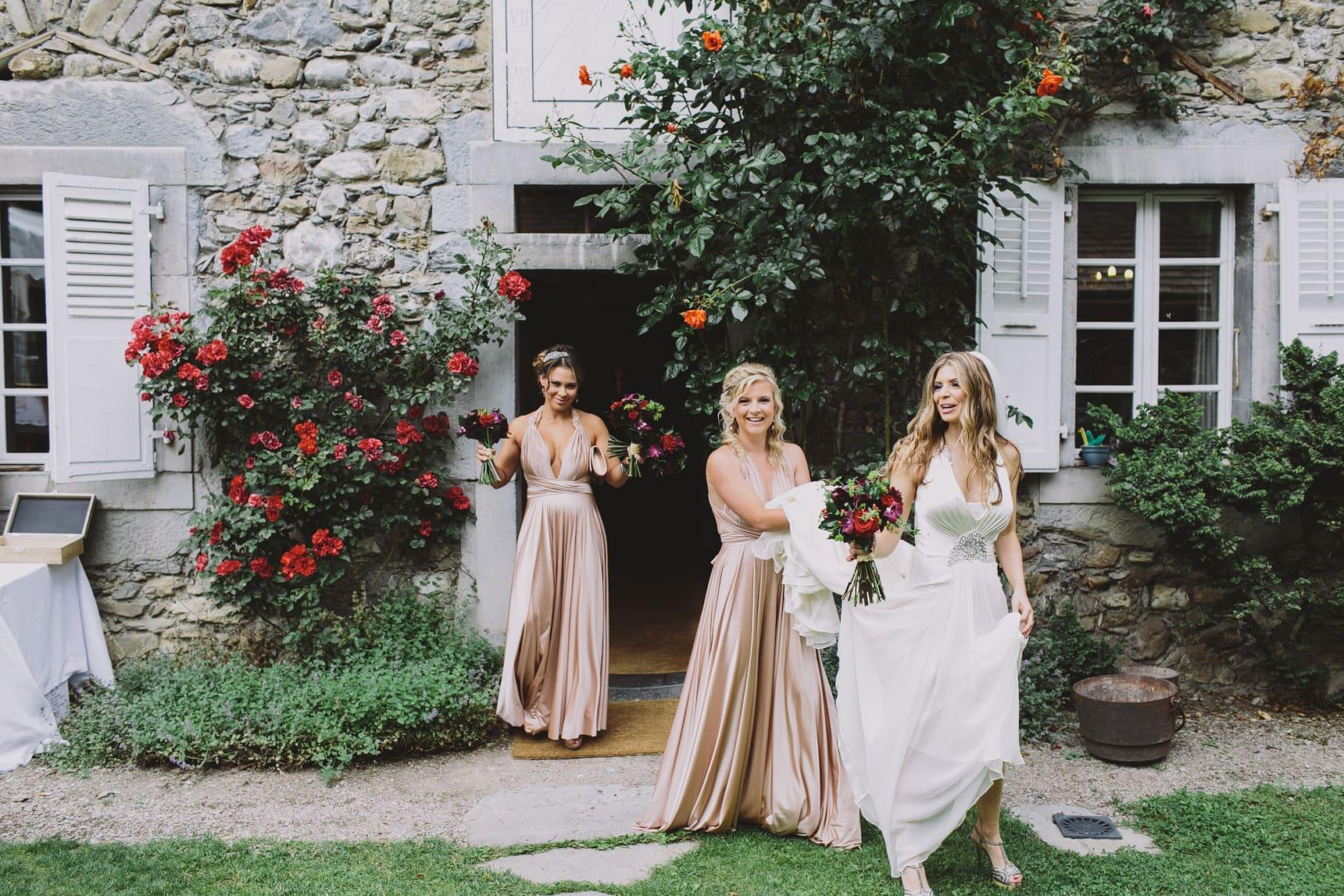 morzine bride and bridesmaids