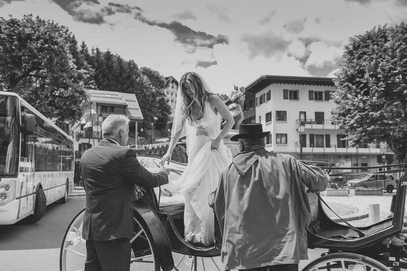 french wedding horse and carriage