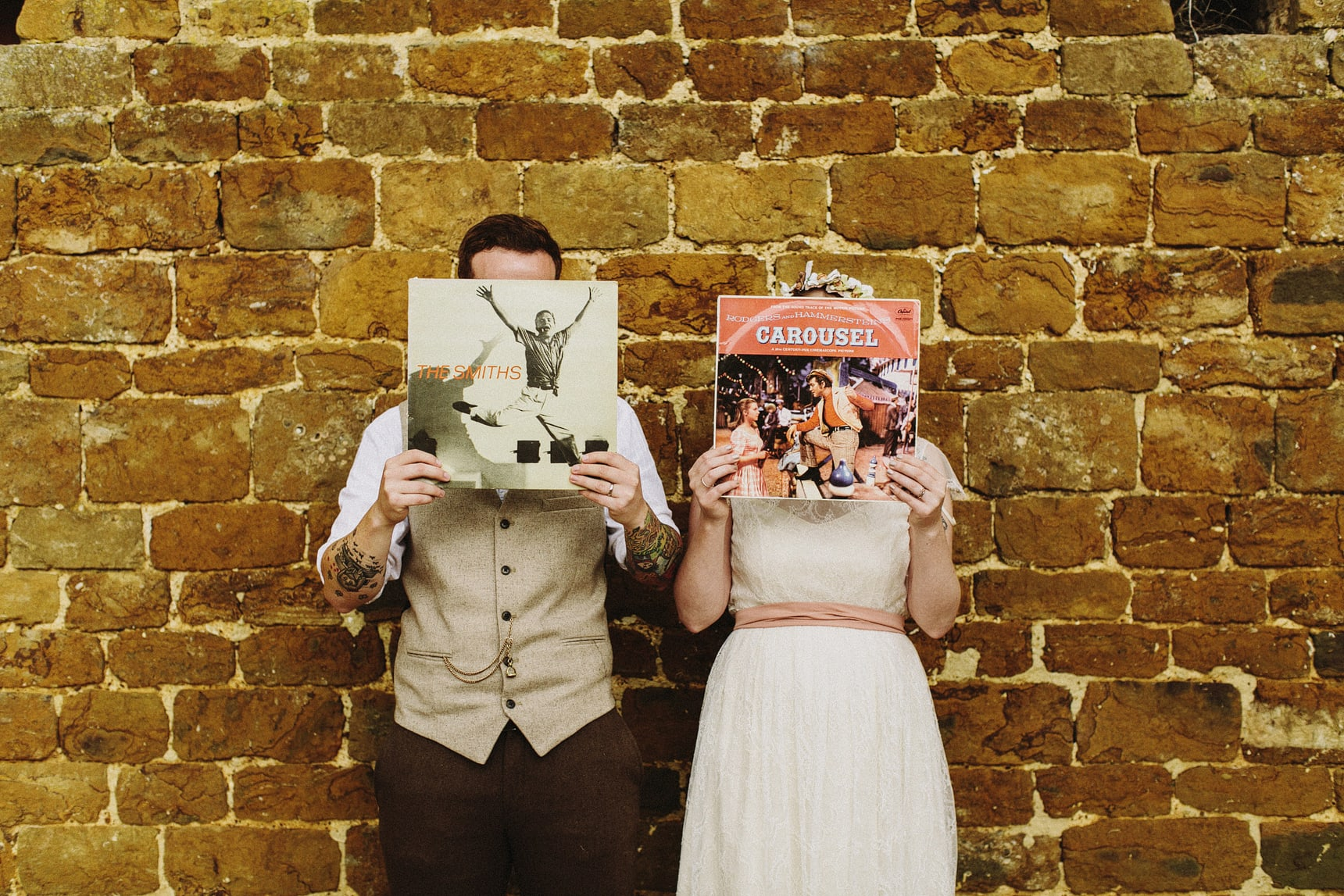 bride and groom record photo