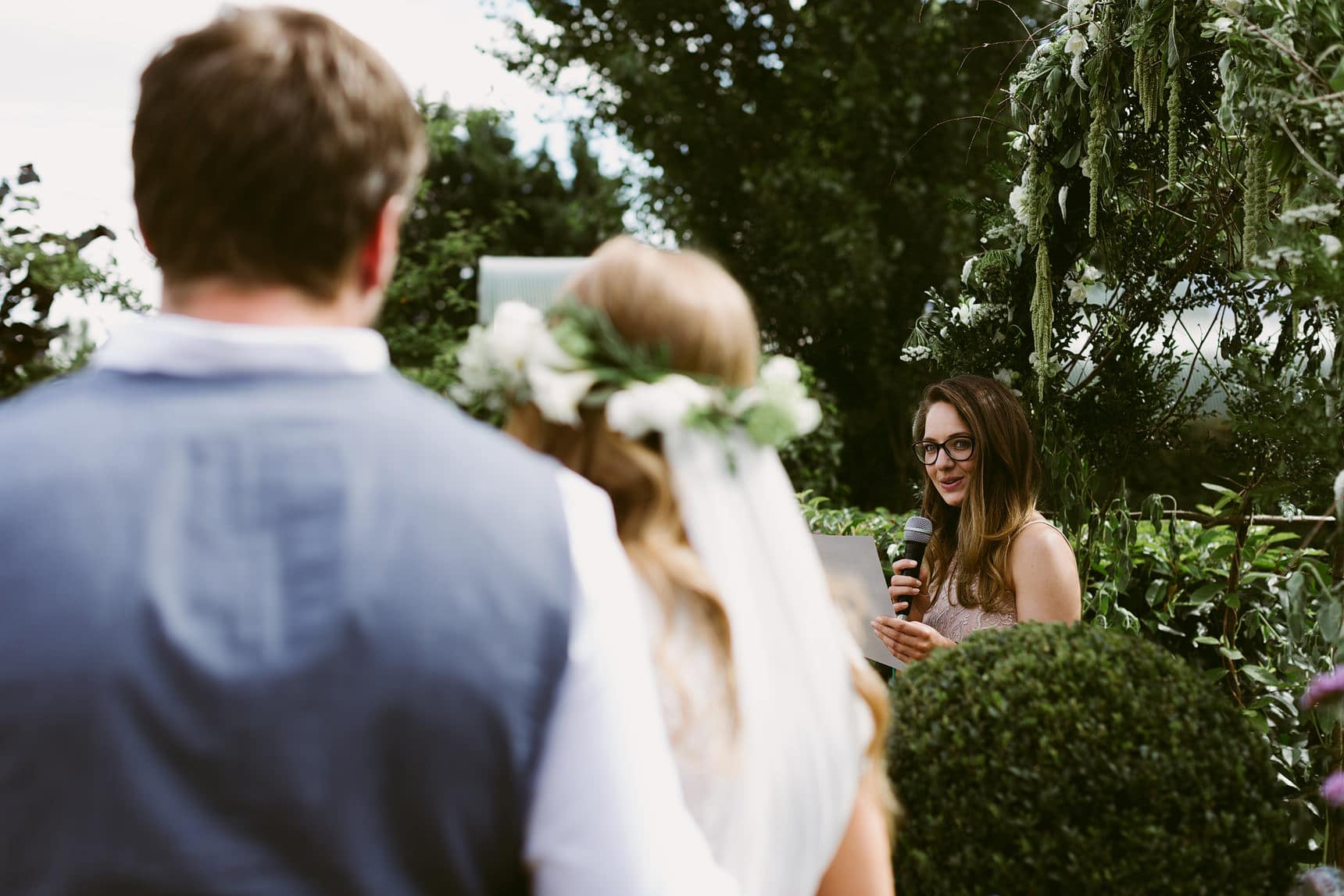 outdoor ceremony at family home
