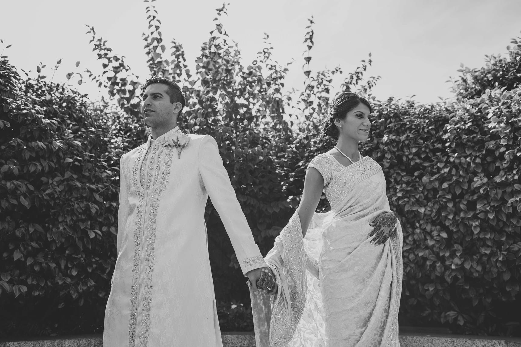 asian bride and groom portraits in london