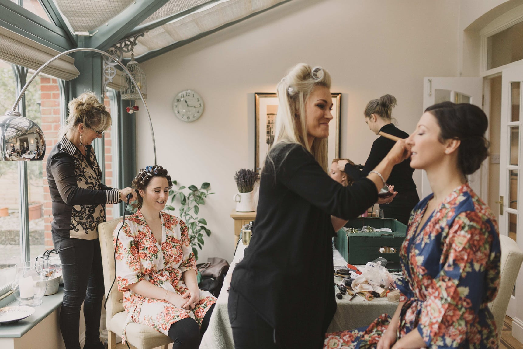 bride getting ready in the morning for her wedding in sussex