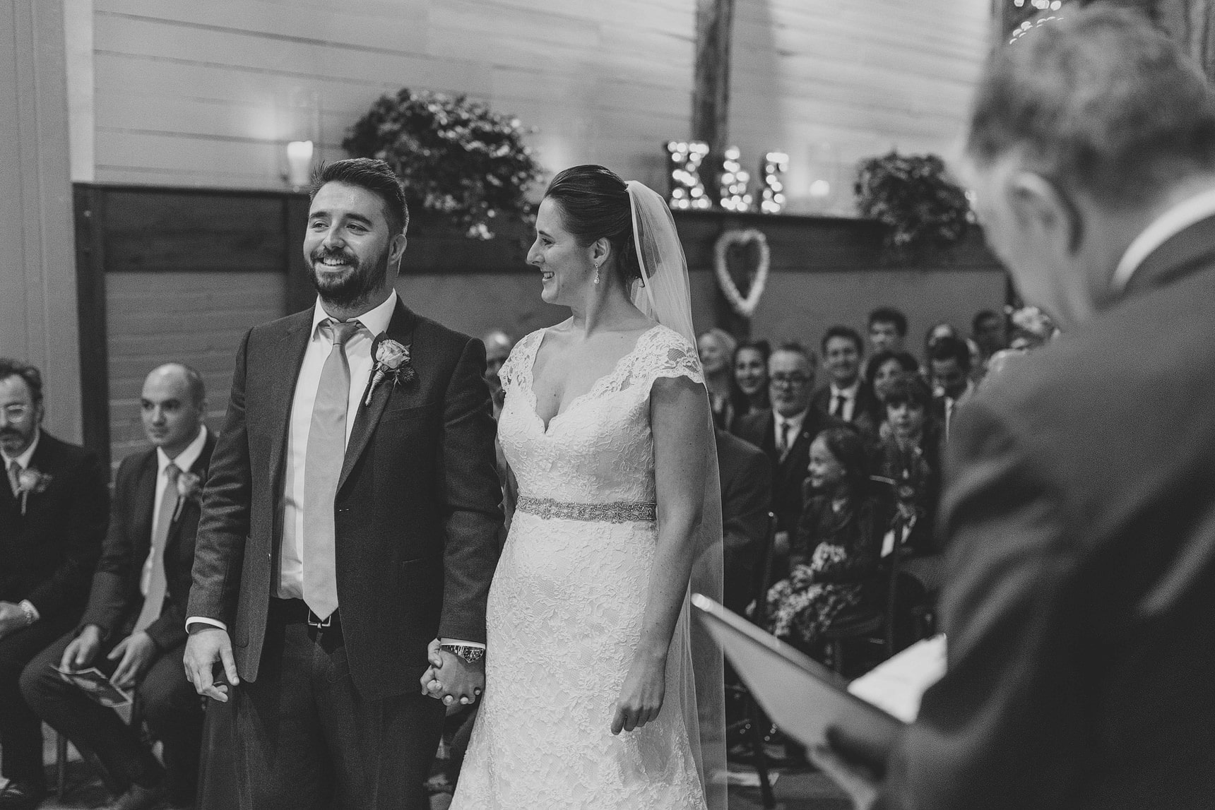 smiles from the bride and groom
