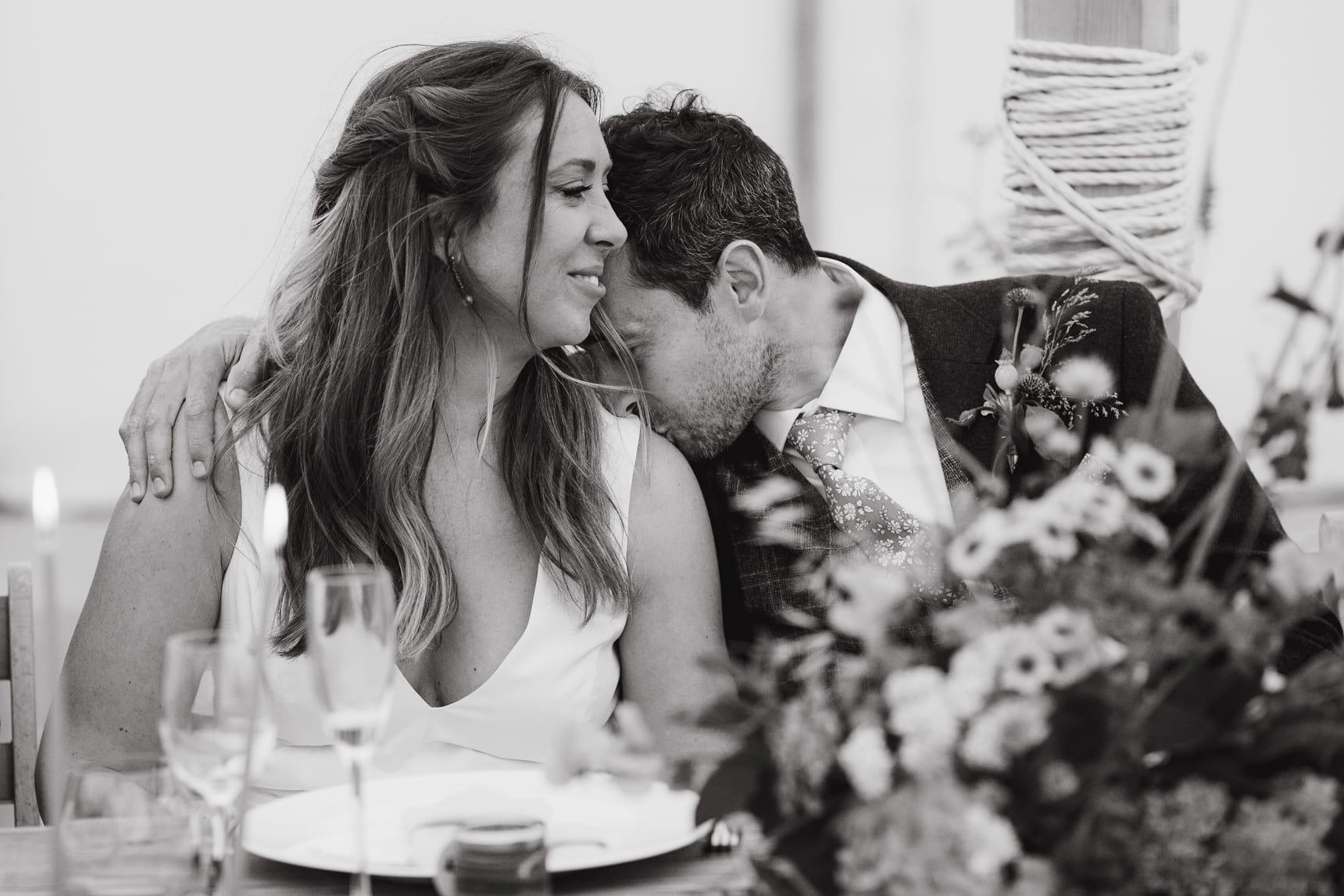 loving husband at wedding