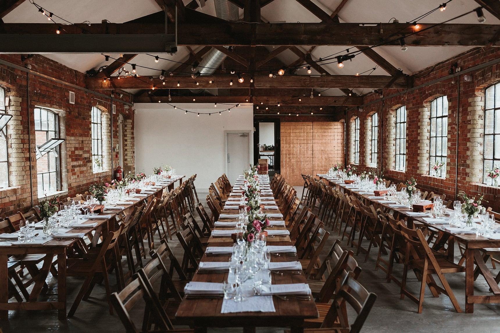 loft studios wedding dining area