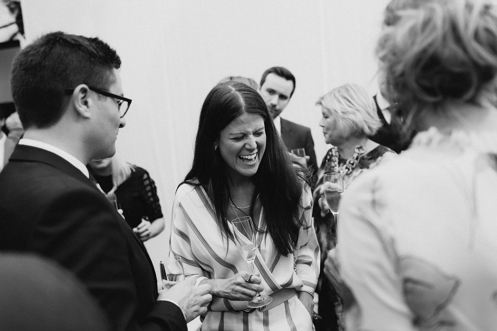 lade laughing at wedding